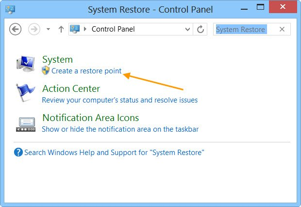 Restore Point Windows 10